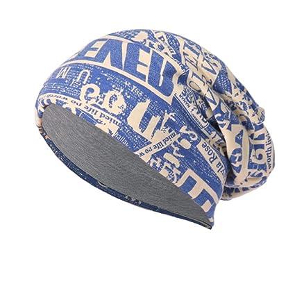 Challyhope Vintage Printed Beanie Cap Lightweight Soft Cozy Knit Slouchy  Hip Hop Cap Headdress (Blue c04a22d2127