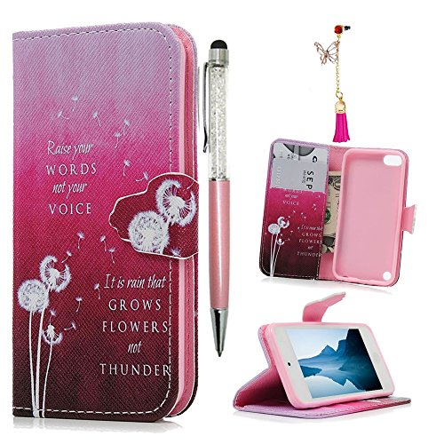 MOLLYCOOCLE iPod Case iPod Touch 5 Case [Hot Pink Dandelion] Stand Wallet Purse Credit Card ID Holders TPU Soft Bumper Premium PU Leather Ultra Slim Fit Cover for iPod Touch 5 5th Generation ()