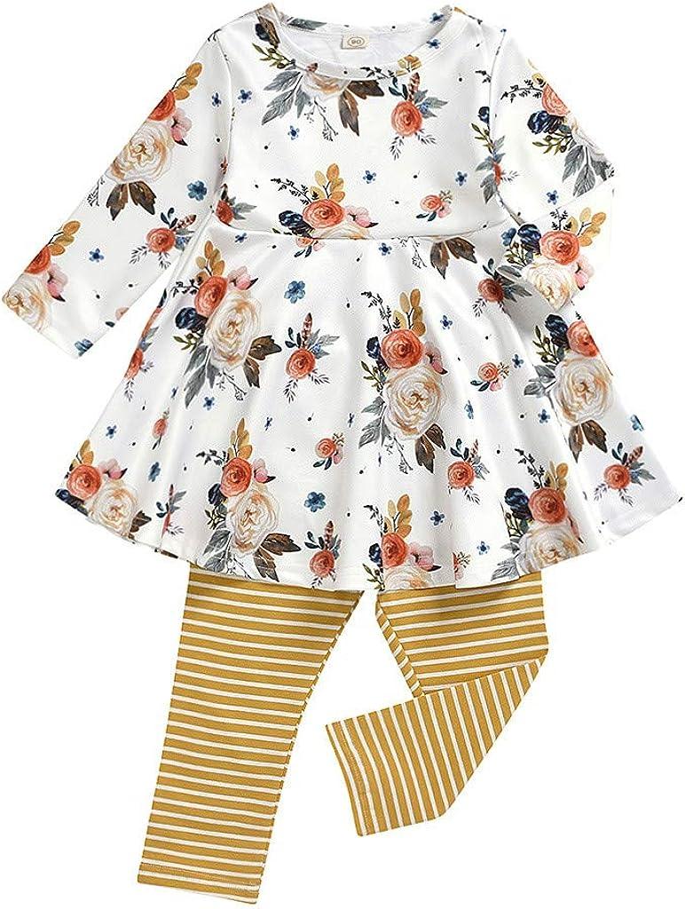 Sayla Babykleidung Satz Fr/ühling Neugeborenes Kleinkind Baby M/ädchen Langarm Blumig Rock Kleid Tops Dress Gestreifte Hosen Outfits Set