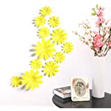 Amaonm® 24 PCS Cute 3D DIY Flowers Wall Decals Removale Home art Decor Flowers Wall Stickers Murals for Kids Girls room Bedroom Weeding party Birthday Shop Windows Decorations (Yellow)