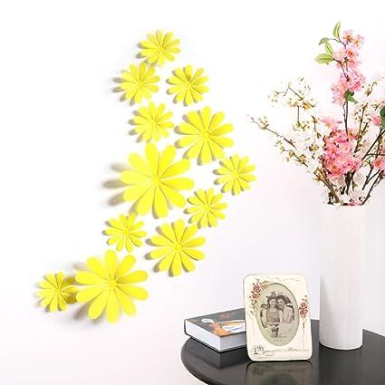 Amazon.com: Amaonm® 24 PCS Cute 3D DIY Flowers Wall Decals Removale ...