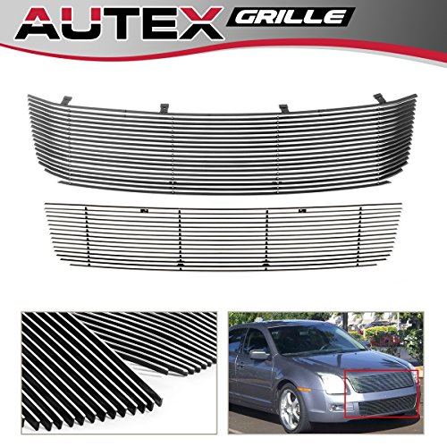 AUTEX Horizontal Billet Grille Inserts Combo Compatible With Ford Fusion 2006 2007 2008 2009 Grill Main Upper + Lower Bumper F87751A ()