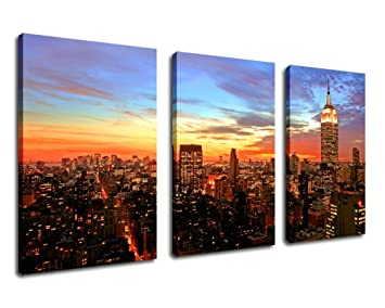 Wall Art Canvas Print Sunset Empire State Building New York City Skyline    20u0026quot; X