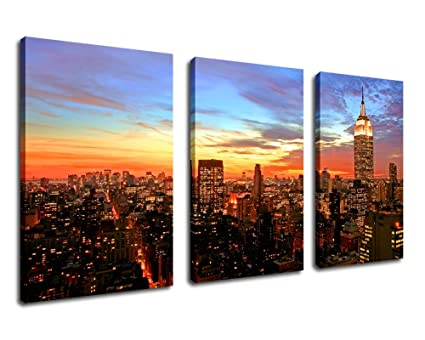 amazon com wall art canvas print sunset empire state building new