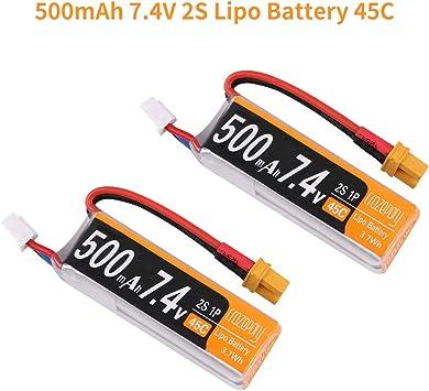 2PCS 500mAh 7.4V 2S Lipo Battery 45C w// XT30 Plug for FPV RC Drone Quadcopter US