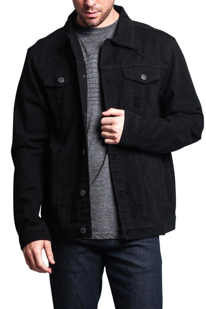 G-Style USA Premium Cotton Slightly Distressed Denim Jacket DK125 - Black - Medium - F15C