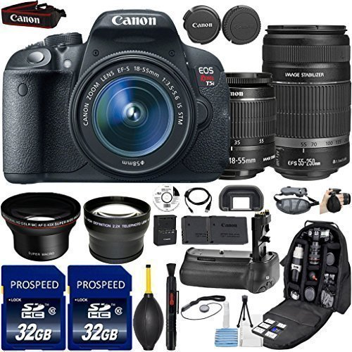 Canon EOS Rebel T5i DSLR Camera with 18-55mm IS STM + 55-250mm IS STM Lenses + 58mm WideAngle Lens + 2.2x Telephoto Lens + 2Pcs 32GB Commander MemoryCard + Battery Grip + ExtraBattery + Backpack Case