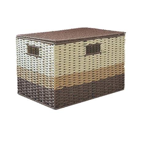 Cesta de mimbre,Residuos de paja cesta con tapa hecha a mano cajas de almacenamiento