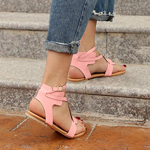 Flop Flats Girl Criss Cross Gladiator Sale Kingfansion up Flat Shoes Hot Beach Sandals Women Strappy Summer Pink Cute Flip Lace xIqT6Yq