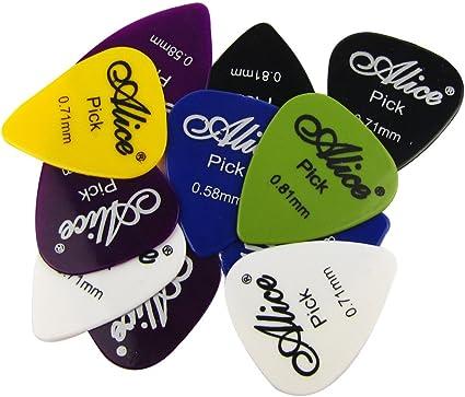 Pack Of 12 X Grande Tri/ángulo Celuloide P/úas Guitarra para Guitarra Ac/ústica El/éctrica bajo Guitarras Alice AP600L 0.81mm