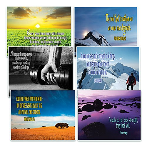 Creanoso Inspirational Quotes Stay Strong Theme Postcards (60 Pack)- Positive Affirmation Sayings Cards - Encouragement Gifts - for Men Women Adults Teens Kids Entrepreneur Family Friends