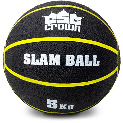 Slam Ball, Weighted Textured Rubber Ball – Strength & Conditioning Training Exercise Equipment for Gym, Home, & Fitness Workouts by Crown Sporting Goods (5kg (11lbs))
