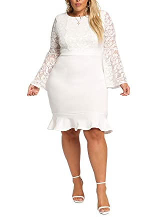 Debshops Womens Plus Size Lace Bell Sleeve Bodycon Dress at ...