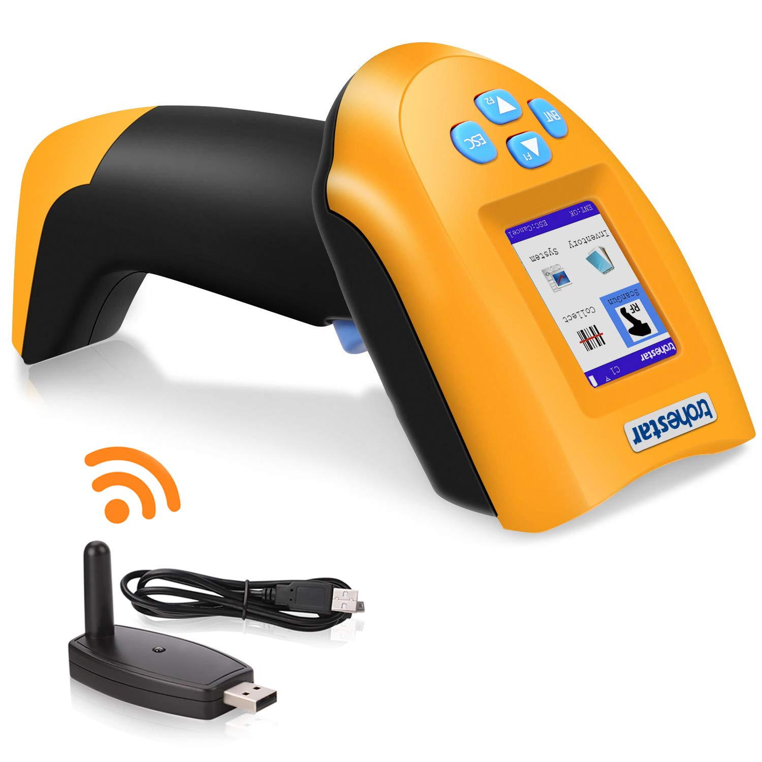 TroheStar 433Mhz Wireless Barcode Scanner, 1D USB Handheld Bar Code Reader Laser Cordless Automatic Bar Code Scanner and Collector Portable Data Terminal Inventory Device with TFT Color LCD Screen BS2203-CH