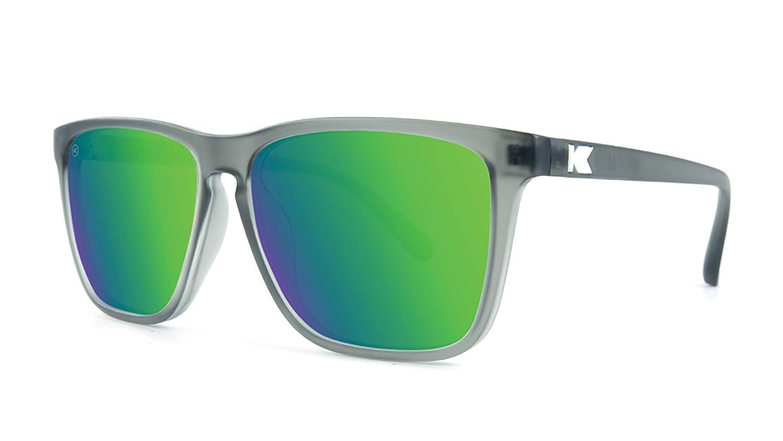 edfe51e9895d Amazon.com  Knockaround Fast Lanes Polarized Sunglasses With Translucent  Grey Frames Green Reflective Lenses  Clothing