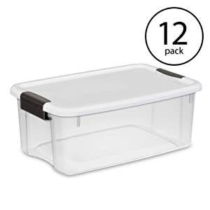 STERILITE Ultra Latch Storage Box (12 Count, Clear,18 Quart)