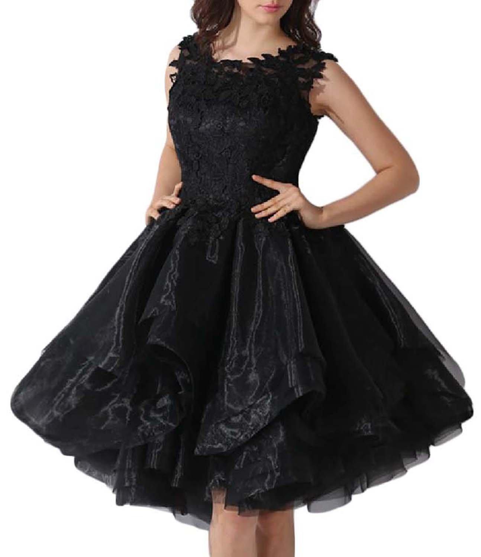 Udresses Women's Lace Cocktail Dress Prom Party Dance Short Dresses FX49 Black 4