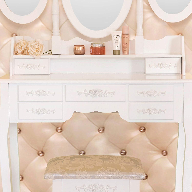 7 Tiroirs uenjoy Toeletta Tavolo di trucco bianca con sgabello e specchio ovale 5/stili Casa di Campagna Legno bianco