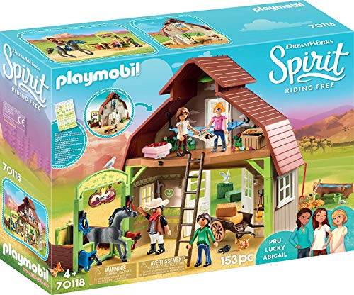 PLAYMOBIL Spirit Riding Free Barn with Lucky, PRU & Abigail -