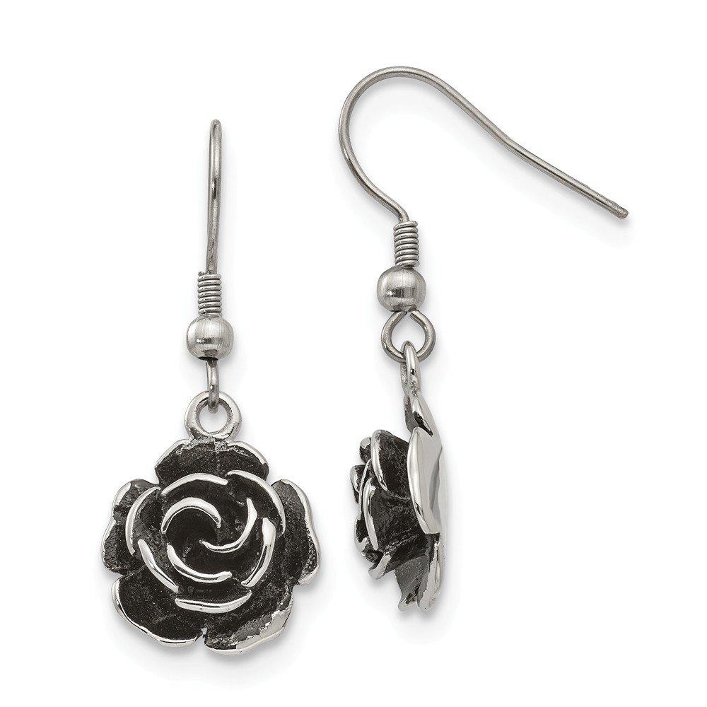 Perfect Jewelry Gift Stainless Steel Polished Antiqued Shepherd Hook Flower Earrings