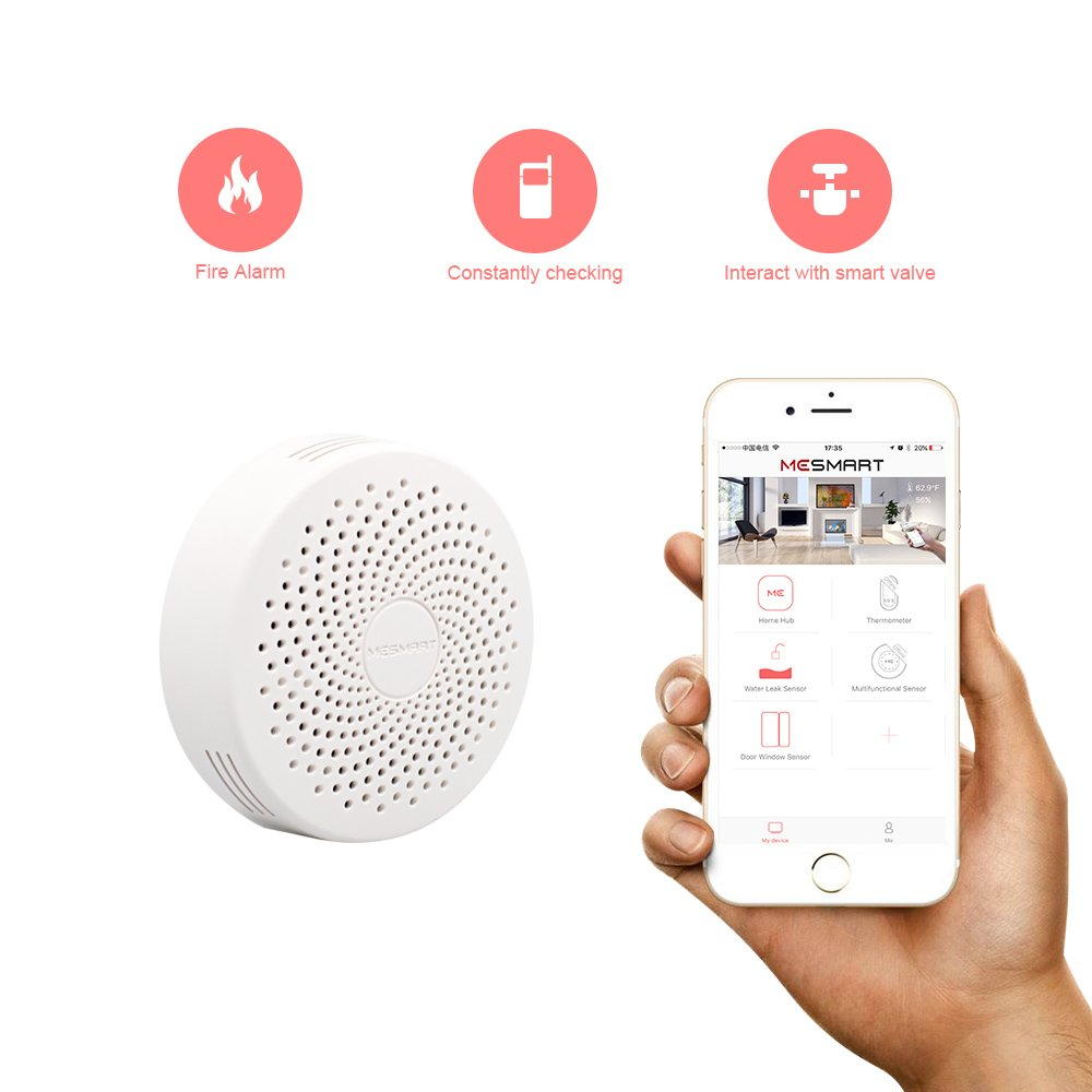 WiFi Smart Gas Leak Detector Propane Butane Methane Natural Gas Alarm Sensor Wireless Remote Controlled by Smartphone APP Work with Echo Alexa -No Hub Required