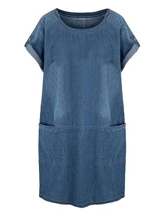 063b30993aa9e LD Womens Casual Short Sleeve Plus Size Loose Denim A-Line Midi Dress Dark  Blue