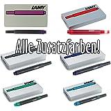 LAMY T10 Alle Zusatzfarben-Set   inkl. je 5 Patronen in blau-schwarz, schwarz, rot, violett, grün, türkis
