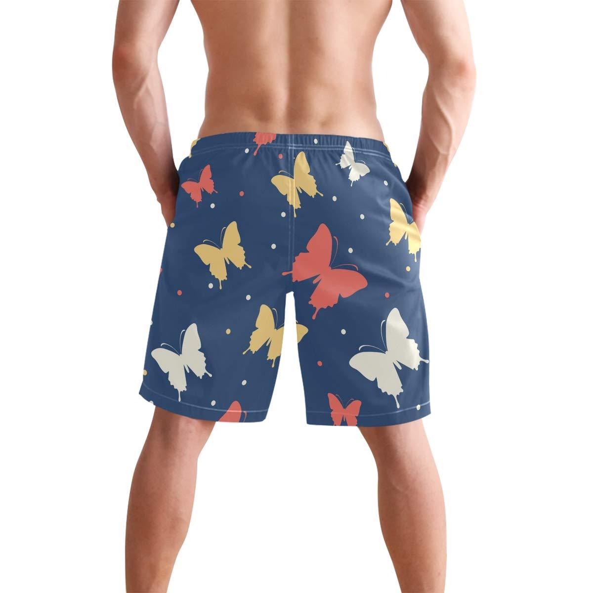 DEYYA Mens Hand Drawn Ink Butterfly Summer Beach Shorts Pants Swim Trunks Board Short for Men
