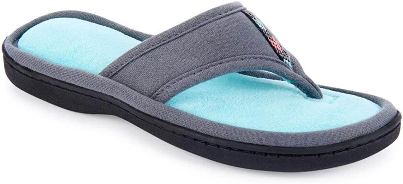 52d9cc4dff95 Isotoner Jersey Luna Women s Summer Thong Slippers Flip Flop Style with  Foam Cushion (Small (