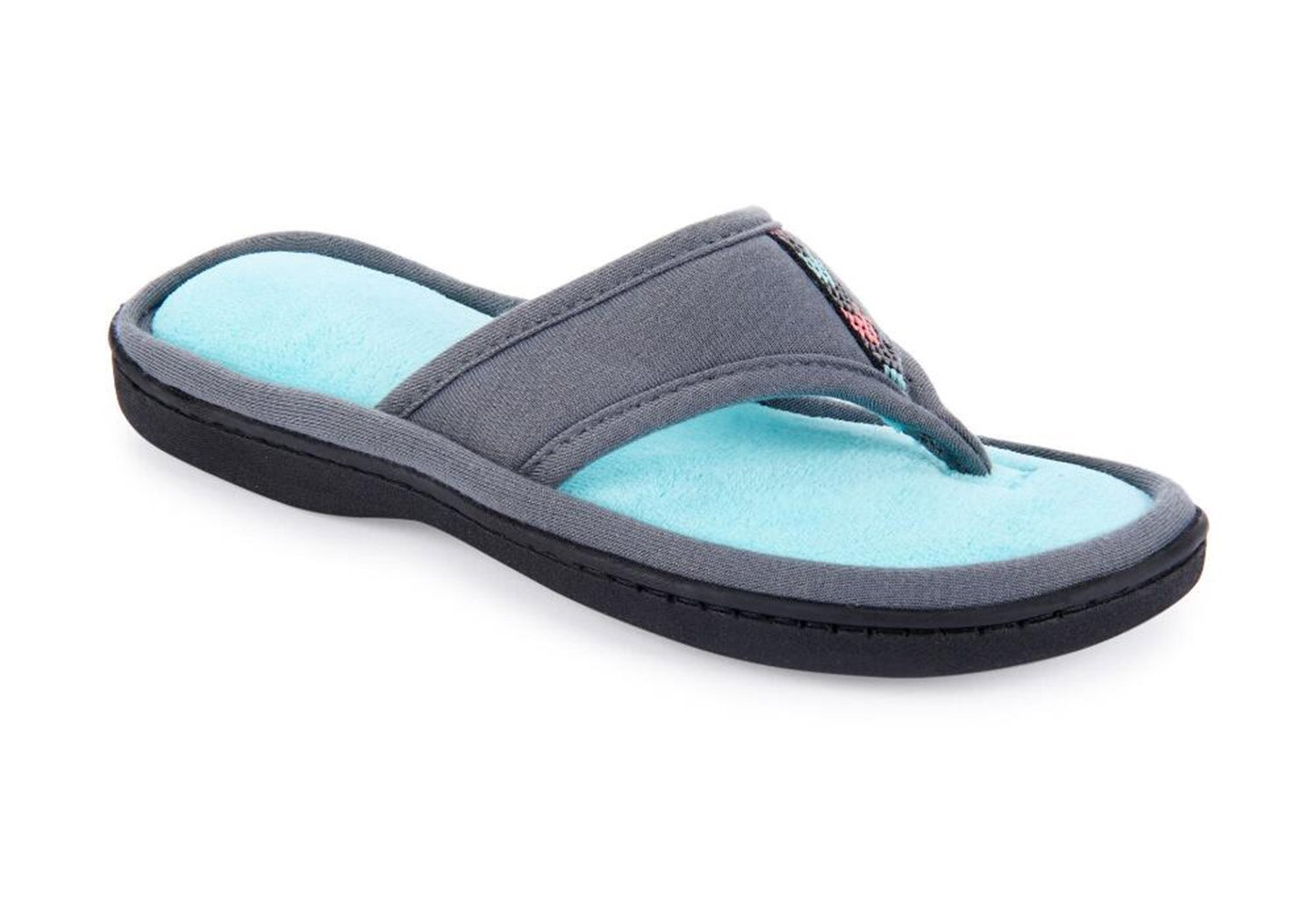 ISOTONER Jersey Luna Women's Summer Thong Slippers Flip Flop Style with Foam Cushion (Large (8.5-9), Ash)
