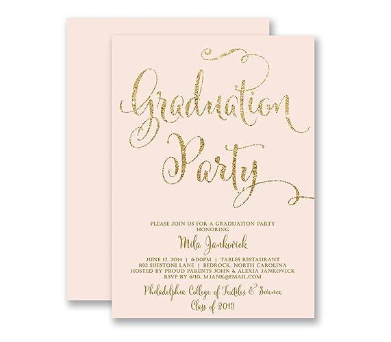 amazon com graduation invitations blush pink gold glitter look
