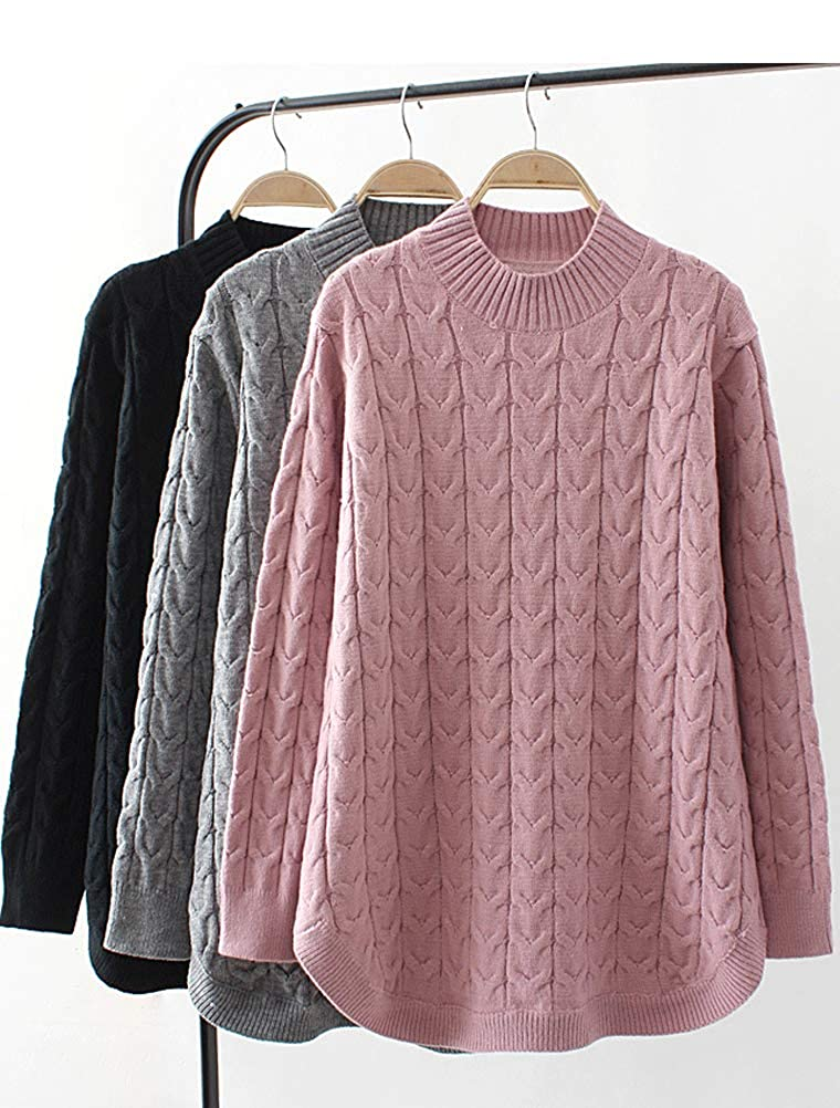 e6531650acb71 ... Minibee Womens Long Sleeve Sweater Mock Turtleneck Pullover Tops Ribbed  Cable Knit Jumper ...