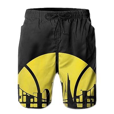 xj Golden State Basketball Skyline Logo Men's/Boys Casual Shorts Swim Trunks Swimwear Elastic Waist Beach Pants with Pockets