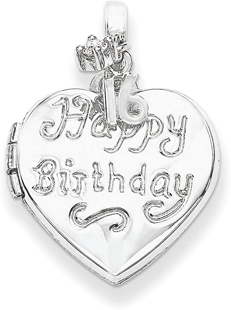 FB Jewels Solid 925 Sterling Silver Rhodium-Plated Heart Happy 16Th Birthday Cubic Zirconia CZ Locket