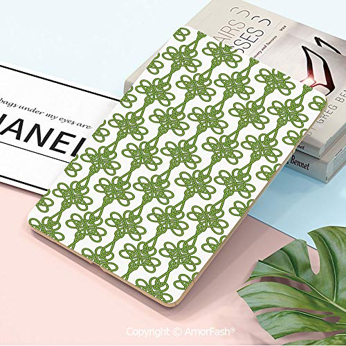 Printed Case for Samsung Tab A 10.5 inch SM-T590/T595 2018 with Auto Sleep/Wake,Irish,Entangled Clover Leaves Twigs Celtic Pattern Botanical Filigree Inspired Retro Tile Decorative,Green Cream