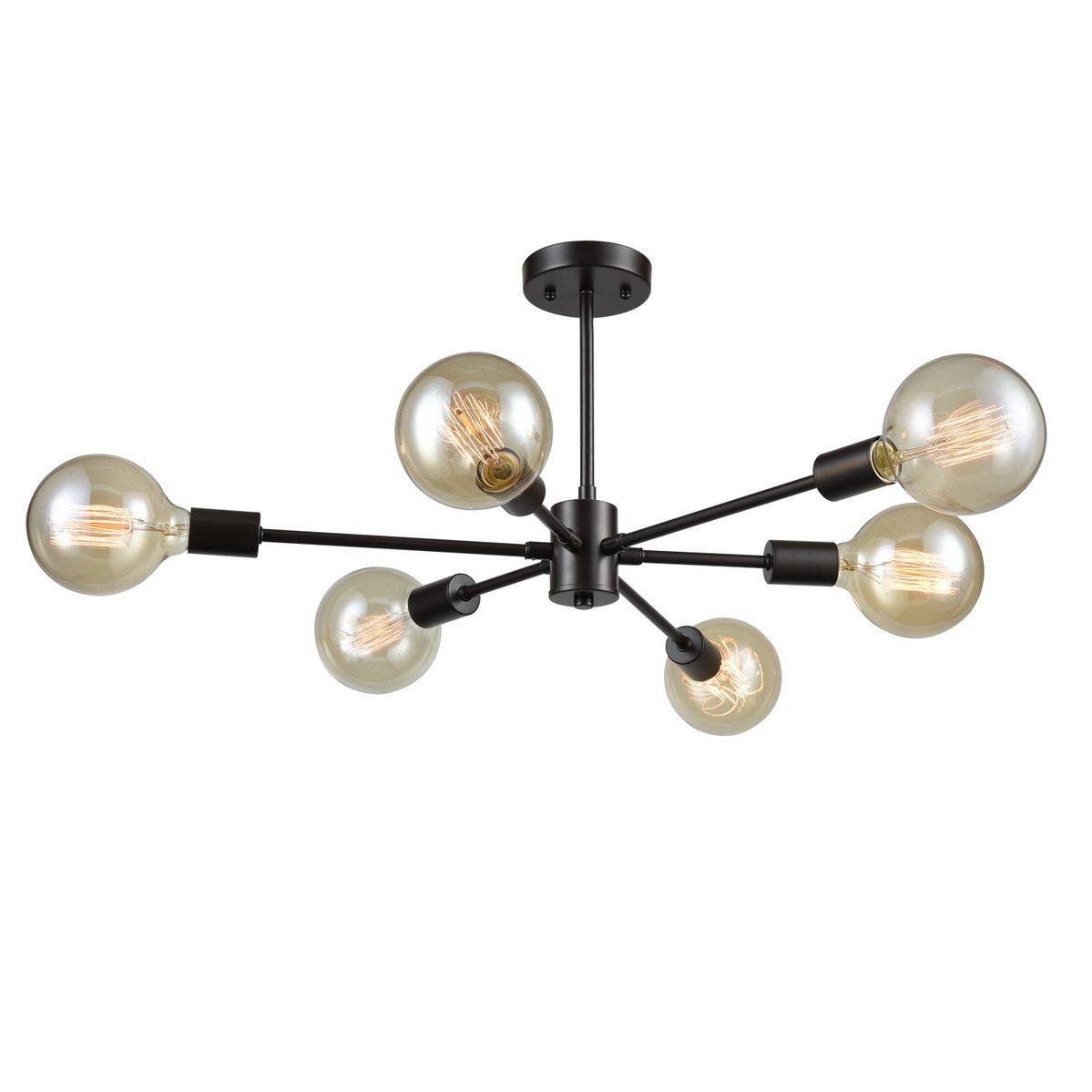 Dazhuanスプートニクシャンデリア-メタルsemi-flush天井照明器具 T7054-6CU-OB B078M2XYLW オイルステイン仕上げブロンズ