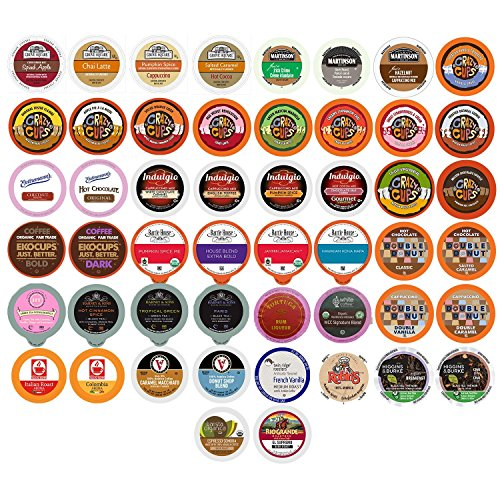 Coffee, Tea, Cider, Cappuccino and Hot Chocolate Single Serve Cups For Keurig K Cup Brewers Variety Pack Sampler, 50 Count ()
