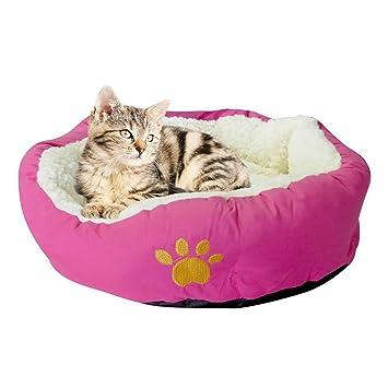 QZBAOSHU Invierno Gato Perro Caliente Camas Casa Animal Doméstico 6 Colores S \ L Tamaño (S: 45 * 35 * 15cm, Rosa roja): Amazon.es: Hogar