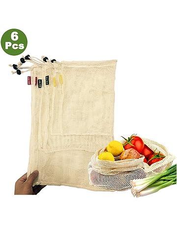Woo Well Bolsas de vegetales reutilizables de algodón,bolsas de frutas y vegetales, bolsas