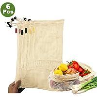 Woo Well réutilisable Sacs de légumes en Coton, Sacs de Fruits et Sacs de légumes, Sacs à provisions en Maille Respirant, Beaux Sacs en Coton Naturel, 6 pièces - 2X S, 2X M, 2X L, Vie écologique.