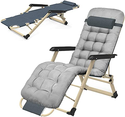 XDDXIAO Portable Jardin Chaise Longue, Pliable Sun Lounger avec Rembourré Têtière et réglable Dossier, Max Poids 300 kg, pour Camping Plage,Gris