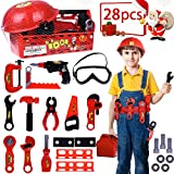 Kids Tool Box Set With Tool Belt Durable Children's Educational Pretend Construction Engineer Role Play Set with Costumes Accessories And Sturdy Plastic Carrying Box - 28 pcs