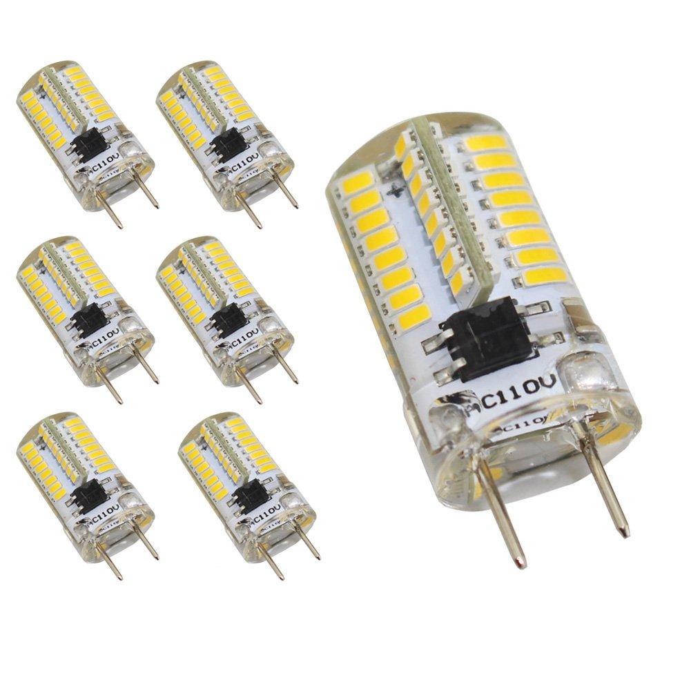 Reelco 6-Pack Mini G8 T4 Base Bi-pin LED 3Watt Dimmable LED Light Bulb AC 110V-120V White 6000K-6500K Equivalent 20W-25W