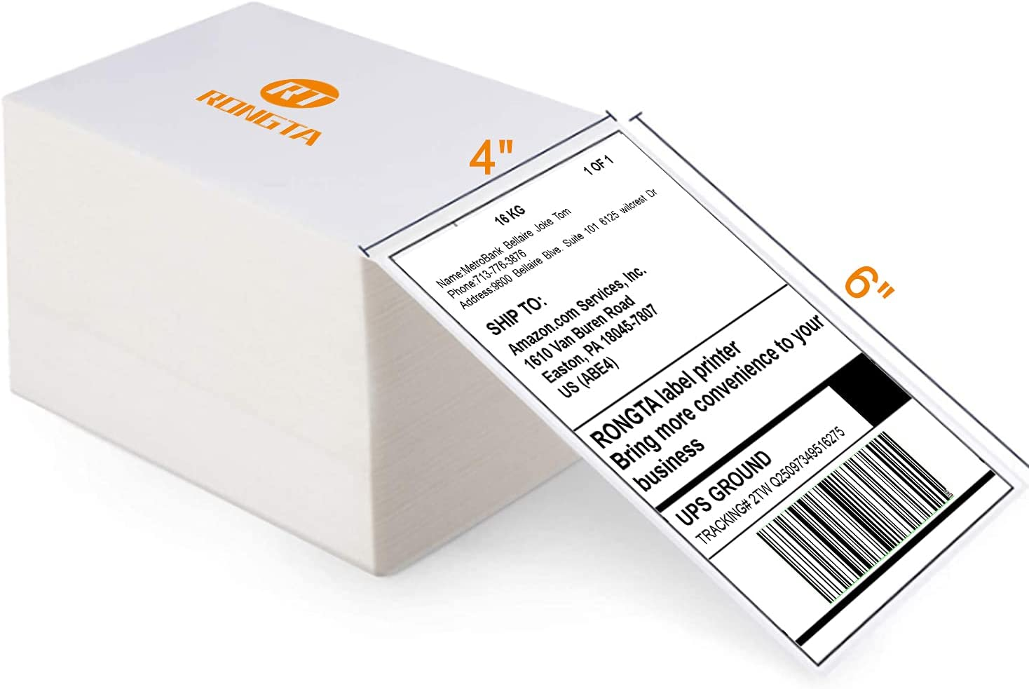 Rongta Thermal Label Printer 4x6 Shipping Label Printer for Small Business Commercial Grade Direct High Speed Compatible with Etsy, Ebay,FedEx,UPS,Shopify, USPS Etc (500PCS 4x6 Thermal Label): Electronics