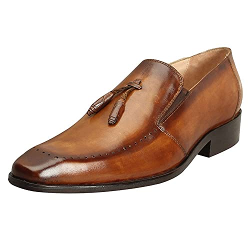 9577721a2fd Brune Tan Color 100% Genuine Leather Formal Loafer Shoes with Tassel for  Men  Buy Online at Low Prices in India - Amazon.in