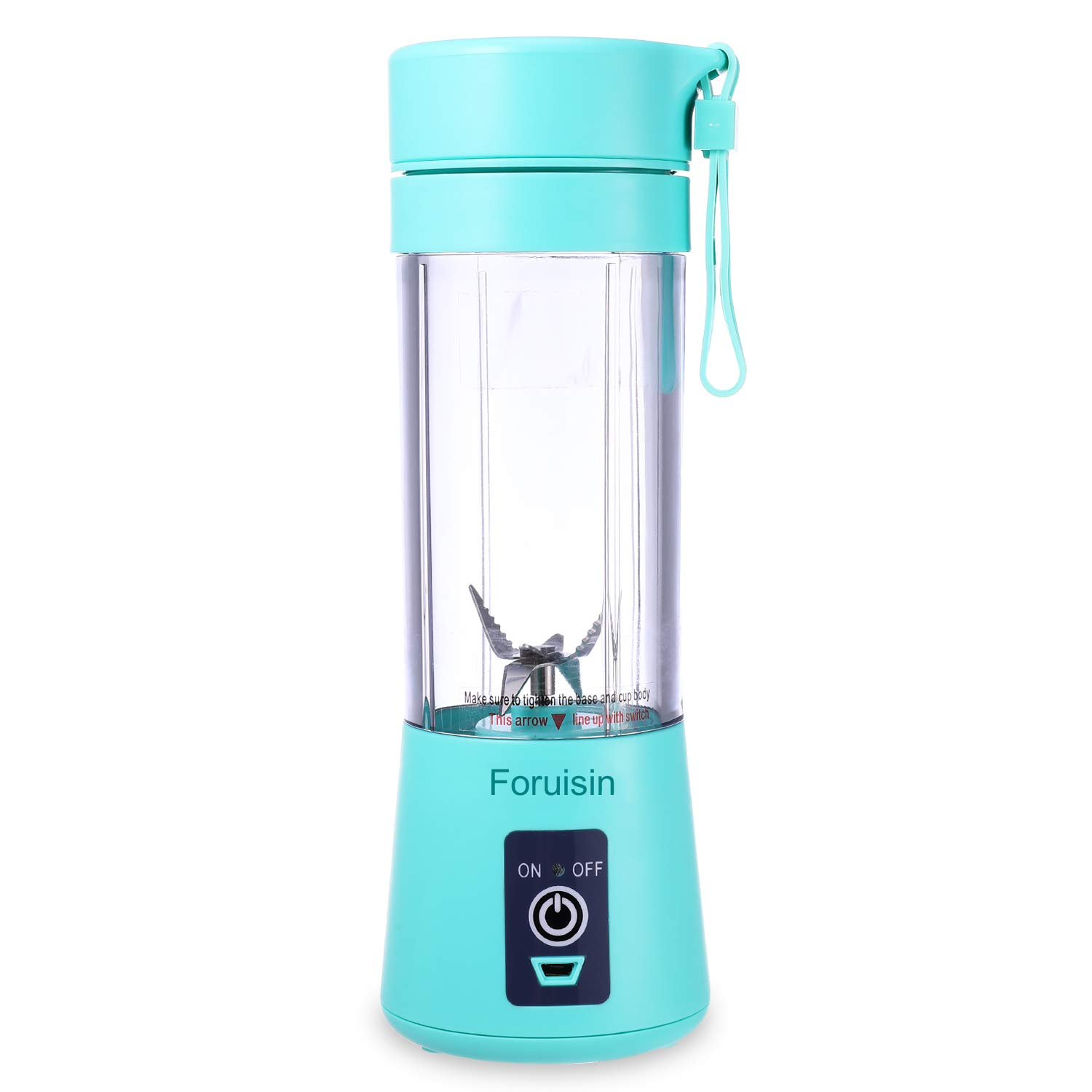 Foruisin Portable Personal Blender, Household Juicer fruit shake Mixer -Six Blades, 380ml Baby cooking machine with USB Charger Cable (Cyan)