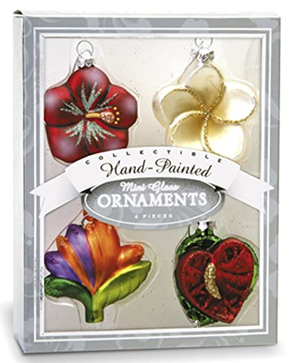 hawaiian tropical flowers mini glass christmas ornaments set of 4