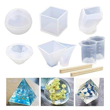 Molde de fundición de resina, paquete de 6 moldes de silicona transparente para manualidades, ...