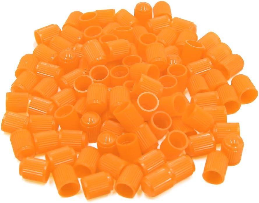 uxcell 100Pcs Yellow Plastic Tire Air Valve Stem Cap Tyre Wheel Rims Dust Cover for Car