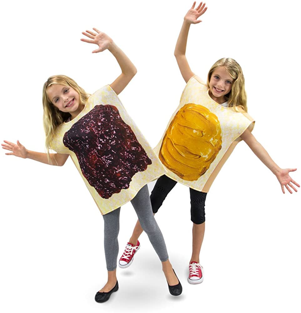 Peanut Butter & Jelly Childrens Halloween Dress Up Party Cosplay Costumes 2-Pack (Youth Large (7-9)) Brown